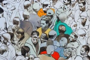 Khaled Hourani, Demonstration, 2019, acrylic on canvas, 97 x 138 cm