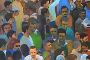 Khaled Hourani, Sit-in, 2019, acrylic on canvas, 159 x 117 cm