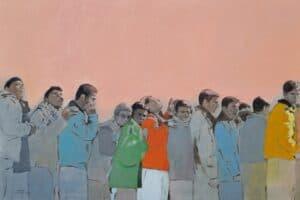 Khaled Hourani, In Wait, 2019, acrylic on canvas, 100 x 149 cm
