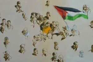 Khaled Hourani, Protest, 2019, acrylic on canvas, 100 x 166 cm
