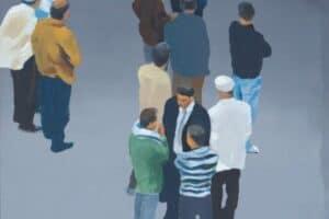 Khaled Hourani, Conversation, 2019, acrylic on canvas, 62 x 58 cm