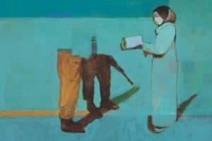 Khaled Hourani, Suspicion, 2019, acrylic on canvas, 78 x 99 cm