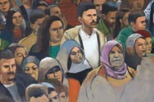 Khaled Hourani, Crowd #2, 2019, acrylic on canvas, 92 x 92 cm