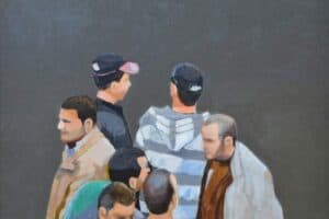 Khaled Hourani, Albakri, 2019, acrylic on canvas, 81 x 96 cm