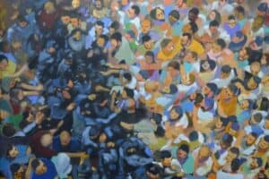Khaled Hourani, Dispersed Crowds, 2019, acrylic on canvas, 105 x 130 cm