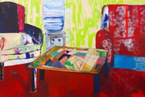 Rana Samara, Intimate Space #17, (2017), acrylic on canvas, 142 x 350 cm