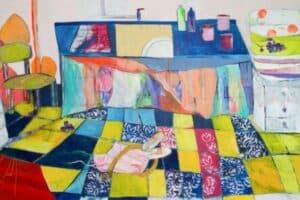 Rana Samara, Intimate Space #21 (2019), acrylic on canvas, 200 x 490 cm
