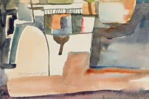 Samir Salameh, Ma'lula, 1971, watercolour on paper, 22 x 22 cm