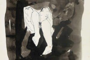 Samir Salameh, Untitled, 1972, ink on paper, 15 x 15 cm