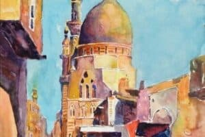 Samir Salameh, Cairo, 2017, watercolour on paper, 45 x 30 cm