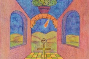 Sager Al Qatil, Untitled #5, 1999, mixed media on paper, 30 x 22 cm