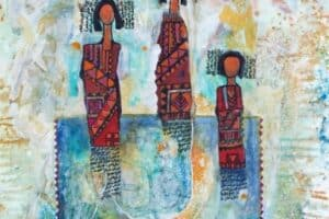 Nabil Anani, Sisters, 2014, mixed media on paper, 63 × 42 cm