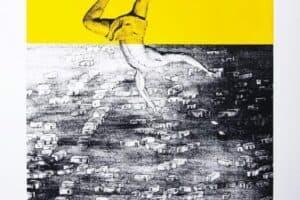 Bashar Alhroub, Falling Angel #3, 2018, Silk screen, edition 10 of 20, 5 AP, 60 X 80 cm