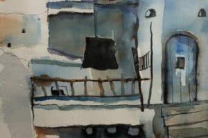 Samir Salameh, Ma'lula, 1969, watercolour on paper, 28 x 18 cm