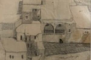 Samir Salameh, From Ma'lula, 1970, pencil on paper, 14 x 17 cm