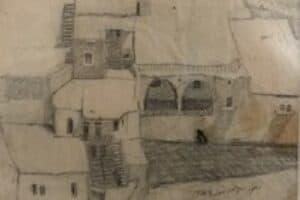Samir Salameh, From Ma'lula, 1970, pencil on paper, 14 x 17 cm