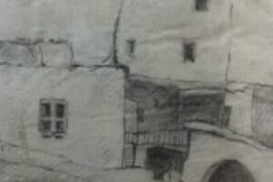 Samir Salameh, From Ma'lula, 1970, pencil on paper, 17 x 14 cm