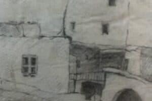 Samir Salameh, From Ma'lula, 1970, pencil on paper, 17 x 14 cm