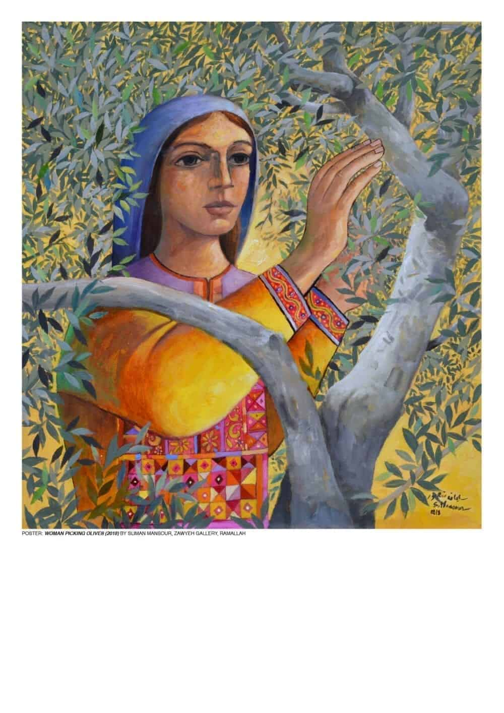 Woman Picking Olives by Sliman Mansour