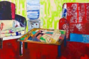 Rana Samara, Intimate Space #17, 2016, acrylic on canvas, 150 × 365 cm