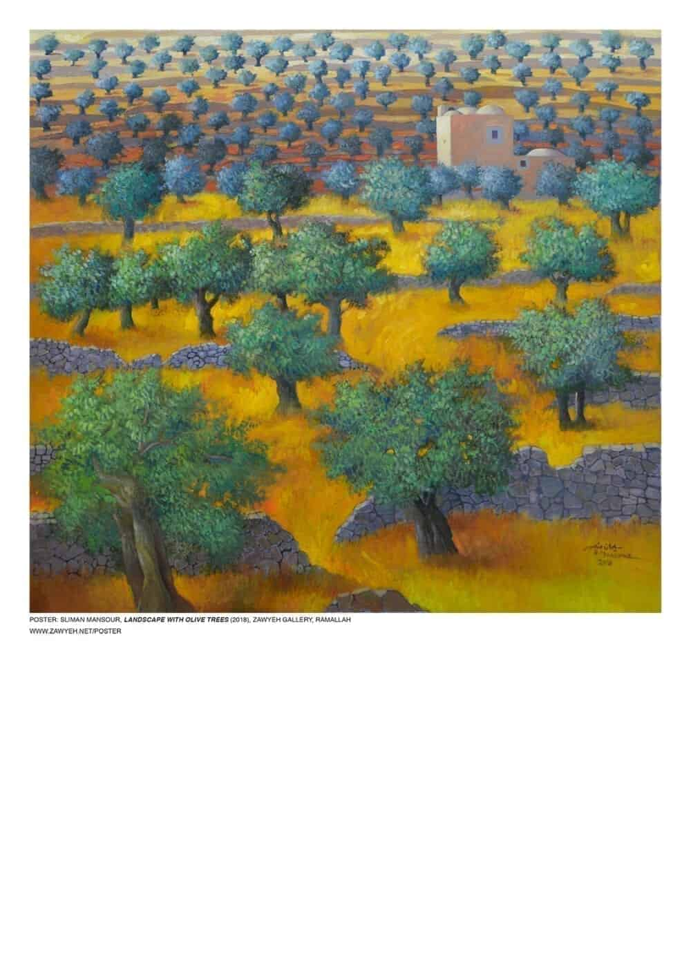 Landscape With Olive Trees by Sliman Mansour