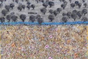 Nabil Anani, Olive Groves #1, 2019, mixed media on canvas, 112 x 100 cm