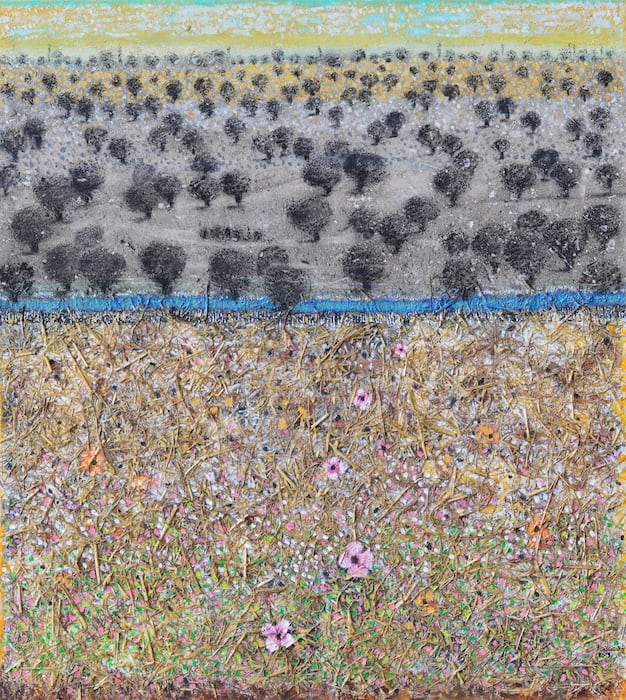 Nabil Anani, Olive Groves #1, 2019, mixed media on canvas, 112 x 100 cm