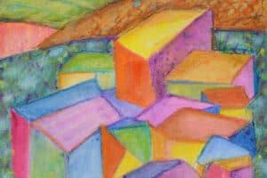 Vera Tamari, Village at Dusk, 2019, crayons on paper, 35 x 25 cm