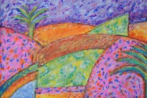 Vera Tamari, Starry Night on Jericho Hills, 2017, crayons on paper, 25 x 35 cm