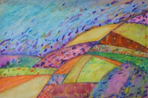 Vera Tamari, Bejeweled Spring, 2019, crayons on paper, 25 x 35 cm