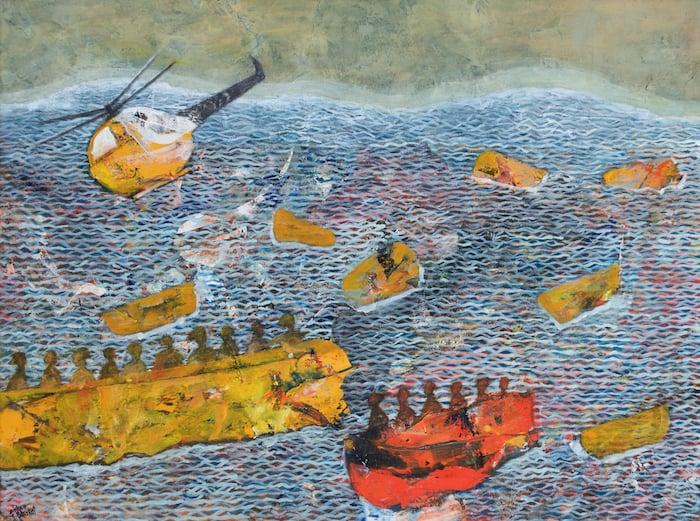 Shoreless Sea, 2018, Acrylic on Canvas, 50 x 70 cm