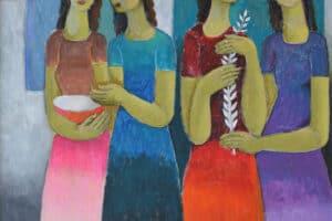 Nabil Anani, A Dream in a Rainy Night (2016), acrylic on canvas, 100 x 90 cm