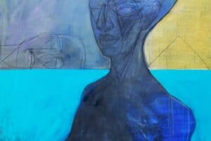 Hosni Radwan, Out of Place #3 (2017), acrylic on canvas, 140 x 140 cm