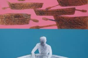 Hosni Radwan, Out of Place #24 (2017), acrylic on canvas, 100 x 100 cm