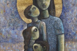 Nabil Anani, Holy Family IV (2016), acrylic on canvas, 110 x 85 cm