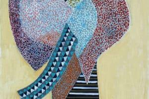 Nabil Anani, Untitled (2020), mixed media on canvas, 100 x 60 cm
