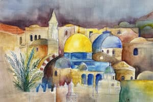 Hosni Radwan, Dome of the Rock (2020), watercolor on paper, 50 x 40 cm