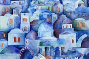 Hosni Radwan, Blue Jerusalem (2020), watercolor on paper, 50 x 40 cm