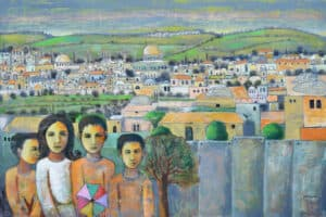 Nabil Anani, Jerusalem, 2014, acrylic on canvas, 105 x 155 cm