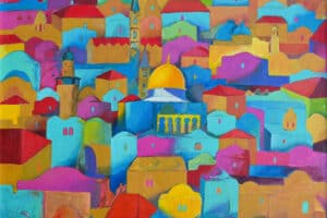 Hosni Radwan, Jerusalem #1 (2018), acrylic on canvas, 102 × 113 cm