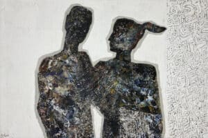Tayseer Barakat, Lovers #1, 2016, acrylic on canvas, 80 x 120 cm