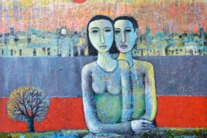 Nabil Anani, Lovers (2012), acrylic on canvas, 110 x 120 cm