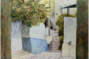 Sliman Mansour, Jerusalem Hoash, 2007, watercolour on paper, 70 x 50 cm
