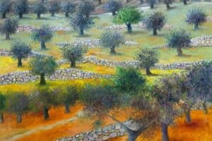 Sliman Mansour, Olive Field, 2020, oil on canvas, 117 x 103 cm