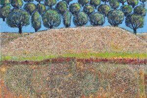 Nabil Anani, Olive Groves #5 (2020), mixed media on canvas, 97 x 97 cm