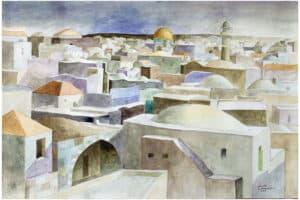 Sliman Mansour, Jerusalem Rooftops, 2007, watercolour on paper, 50 x 70 cm