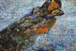 Tayseer Barakat, Shoreless Sea #18, 2019, acrylic on canvas, 47 x 42 cm