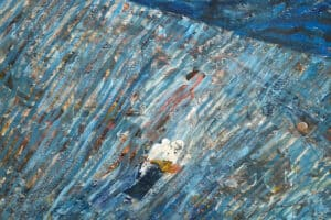 Tayseer Barakat, Shoreless Sea #21, 2019, acrylic on canvas, 47 x 41 cm