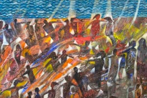 Tayseer Barakat, Shoreless Sea #27, 2019, acrylic on canvas, 44 x 95 cm