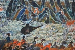 Tayseer Barakat, Shoreless Sea #3, 2018, acrylic on canvas, 47 x 42 cm